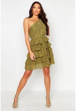 Womens Khaki One Shoulder Cheesecloth Ruffle Skirt Skater Dress