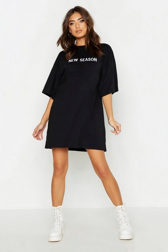 Womens Black New Season Embroidered Cotton T Shirt Dress