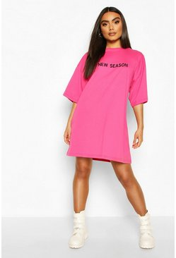 Hot pink New Season Embroidered T Shirt Dress