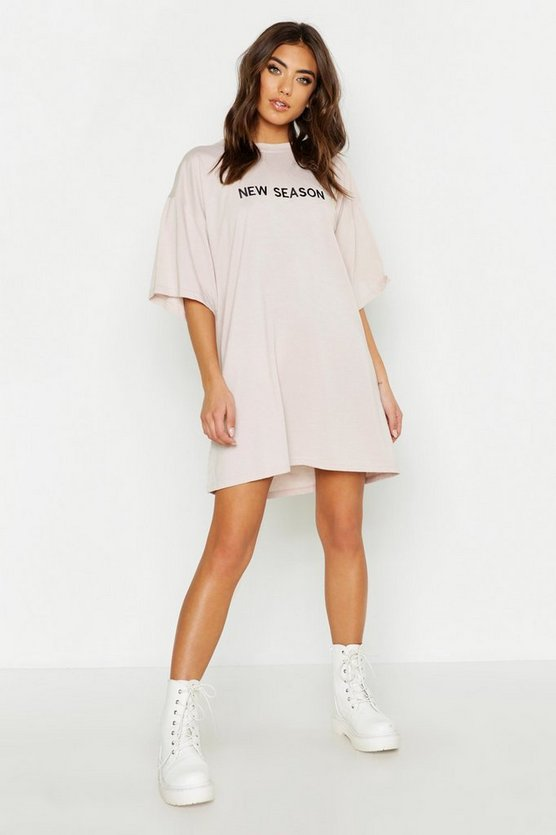 New Season Embroidered Cotton T Shirt Dress by Boohoo