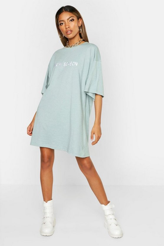 Womens Turquoise New Season Embroidered Cotton T Shirt Dress