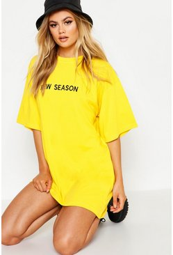 "Yellow ""New season"" t-shirtklänning i bomull med brodyr"