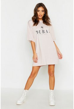 Stone Dubai Printed Oversized Cotton T Shirt Dress