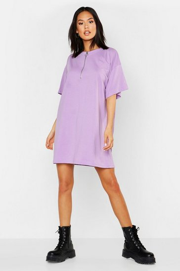Womens Lilac O Ring Zip Detail Cotton T Shirt Dress