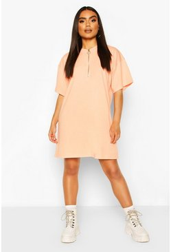 Orange O Ring Zip Detail T Shirt Dress