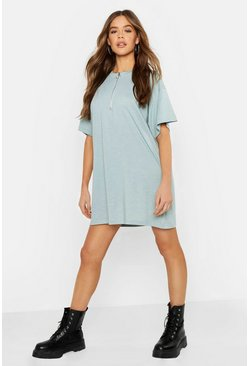 Womens Turquoise O Ring Zip Detail Cotton T Shirt Dress