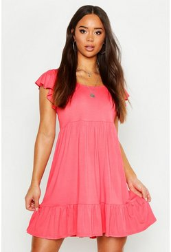 Womens Coral Jersey Frill Hem Babydoll Dress