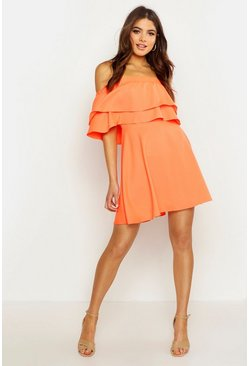 Womens Neon-coral Off The Shoulder Double Frill Skater Dress