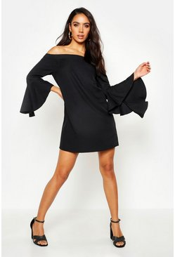 Womens Black Off The Shoulder Frill Sleeve Dress