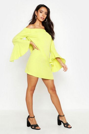 Lime Off The Shoulder Frill Sleeve Dress
