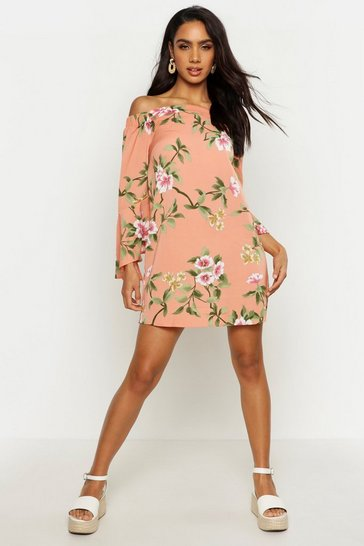 Womens Peach Off The Shoulder Frill Sleeve Swing Dress