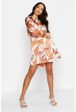 Womens Orange Satin Printed Shirt Dress