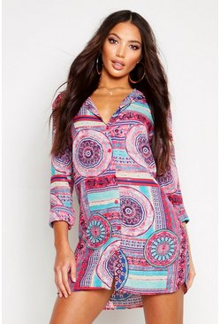 Womens Pink Printed Shirt Dress