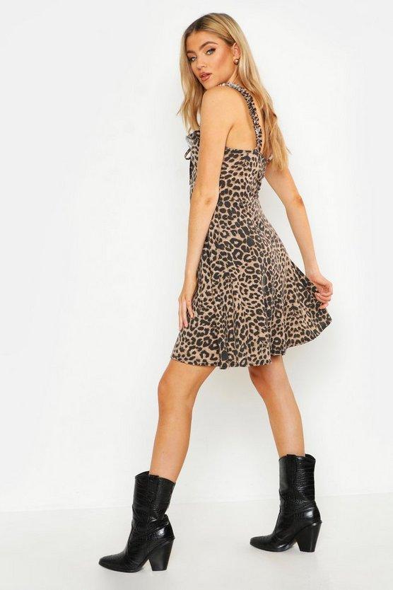 Printed Lace Up Detail Skater Dress