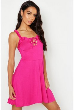 Womens Pink Jersey Lace Up Detail Skater Dress