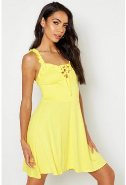 Womens Yellow Jersey Lace Up Detail Skater Dress