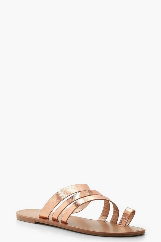 Womens Rose gold Toe Ring Strappy Sliders