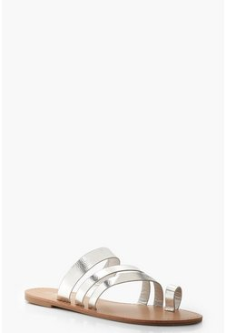 Womens Silver Toe Ring Strappy Sliders