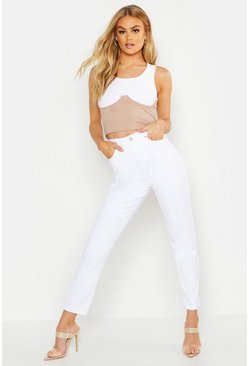 Womens White High Rise Mom Jean