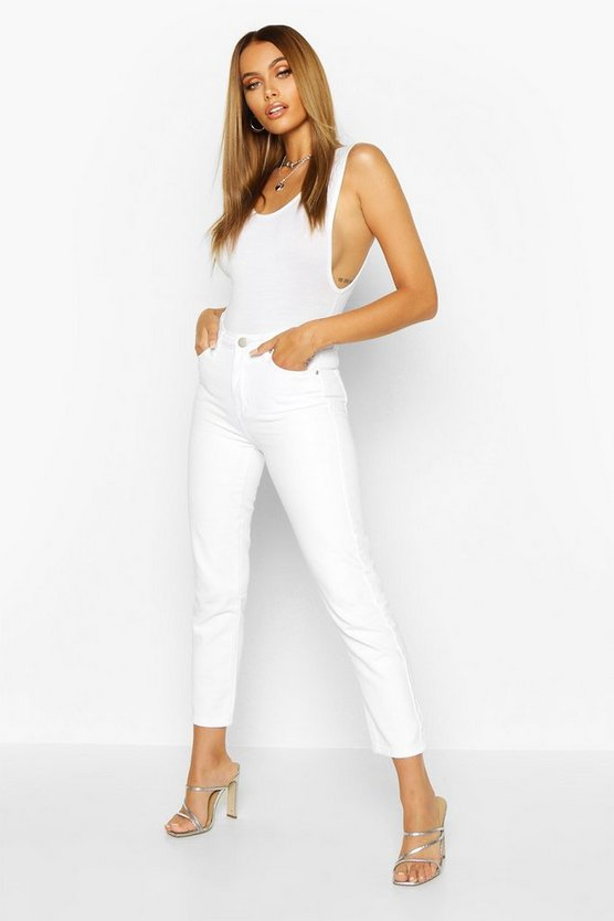 Womens White High Rise Straight Leg Jean