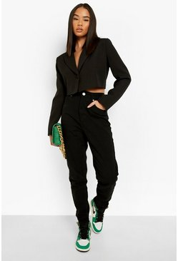 Womens Black High Rise Mom Jean