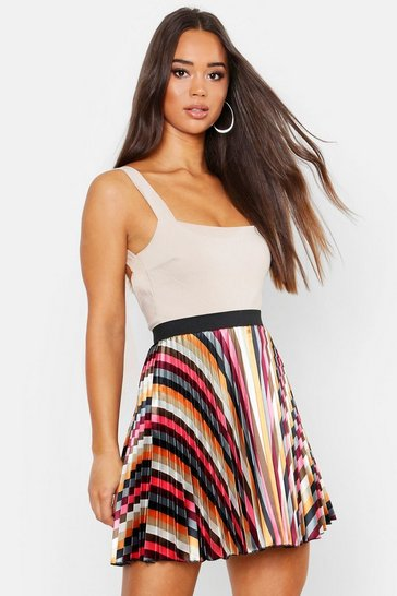 Womens Multi Striped Satin Mini Skirt
