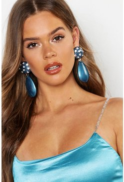 Womens Navy Statment Diamante Enamel Teardrop Earrings