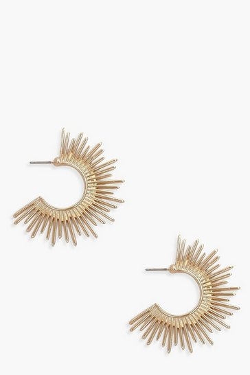 Womens Gold Crescent Sun Hoop Earrings