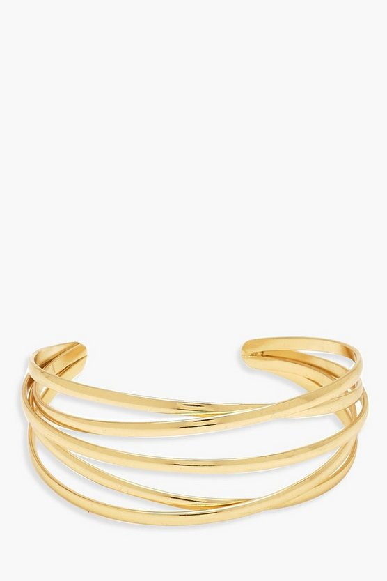Womens Gold Layered Bar Arm Cuff