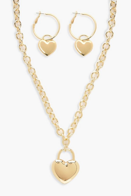 Womens Gold Statement Heart Chain Necklace & Hoop Set