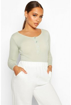 Sage Rib Knit Long Sleeve Button Bodysuit