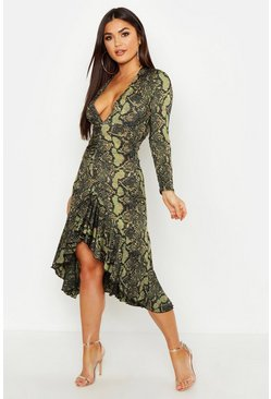 Womens Black Snake Print V Plunge Front Midaxi Dress
