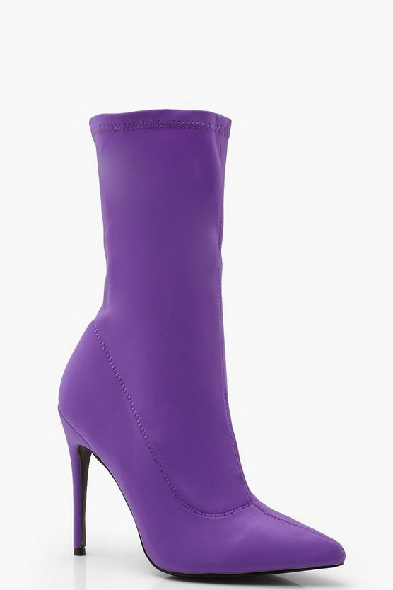 Womens Purple Pointed Stiletto Sock Boots