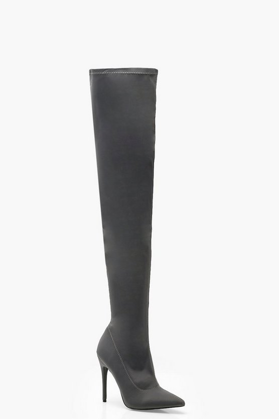 Womens Grey Stiletto Pointed Toe Over The Knee Boots