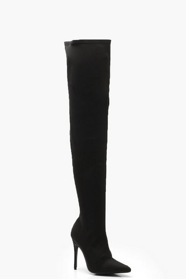 Womens Black Stiletto Pointed Toe Over The Knee Boots