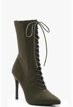Womens Khaki Lace Up Stiletto Sock Boots