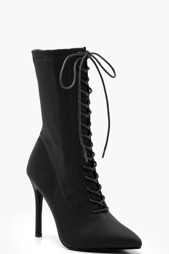 Womens Black Lace Up Stiletto Sock Boots