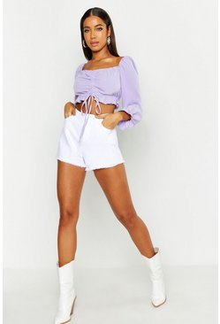Womens Lilac Woven Ruched Peasant Crop