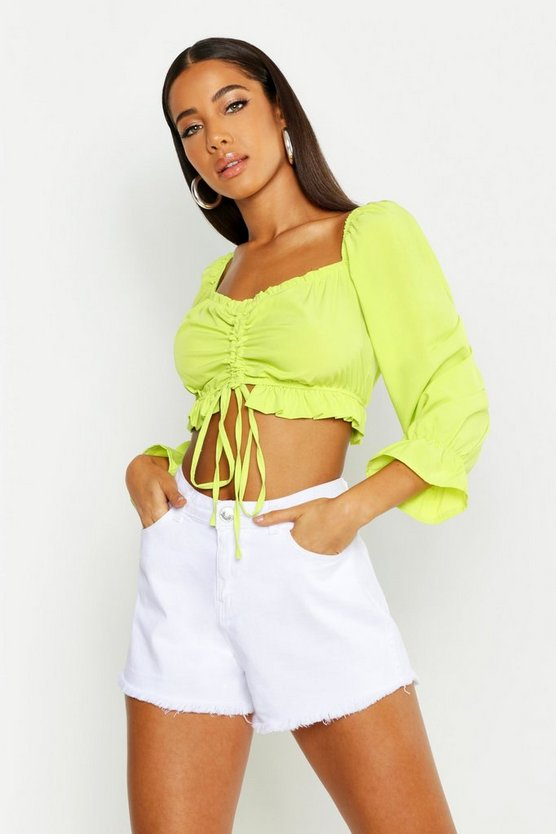 Womens Lime Woven Ruched Peasant Crop