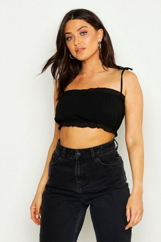Womens Woven Chiffon Neon Strappy Crop