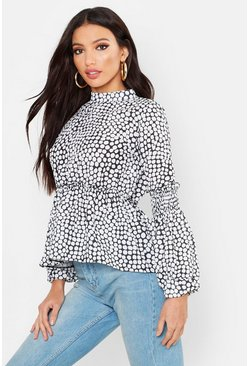 Womens White Leopard Spot Woven Shirred Balloon Sleeve Blouse