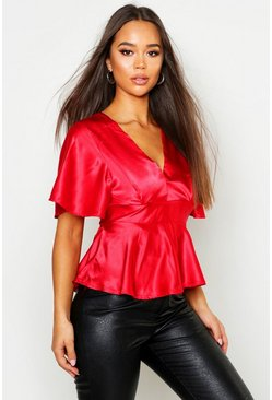 Womens Red Satin Peplum Plunge Open Back Blouse