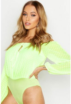 Womens Lemon Woven Dobby Spot Off The Shoulder Bodysuit