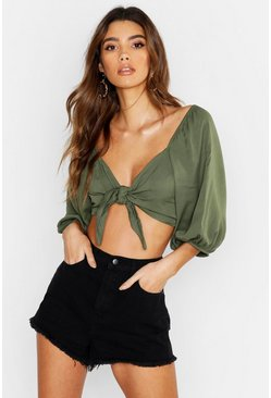 Womens Olive Woven Viscose Volume Sleeve Tie Front Crop Top