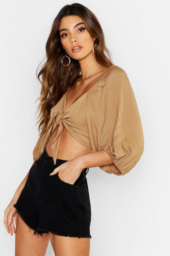 Womens Stone Woven Viscose Volume Sleeve Tie Front Crop Top
