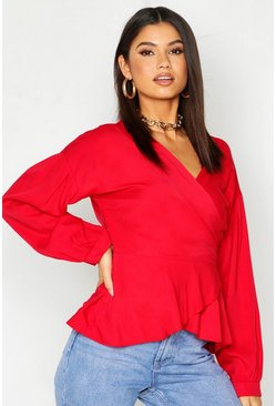 Womens Red Woven Viscose Wrap Blouse