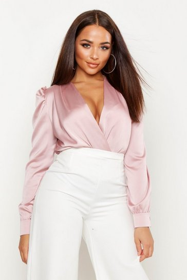 Womens Blush Satin Wrap Front Bodysuit