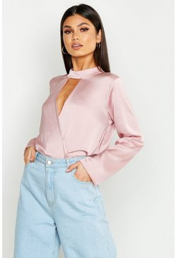 Womens Blush Satin Choker Wrap Front Top