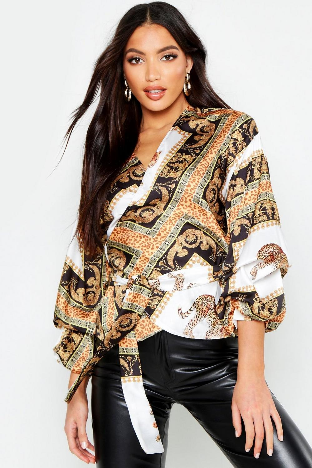 a4672df9189fc3 Satin Scarf Print Ruched Sleeve Crop Top. Hover to zoom