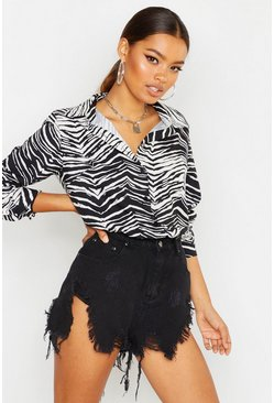 Womens Black Woven Zebra Print Shirt